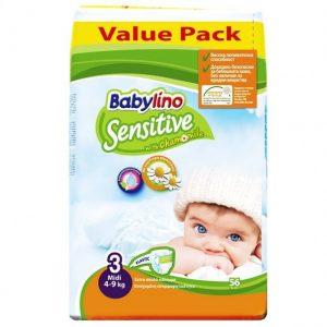 Scutece Babylino Sensitive Nr 3, Economy Pack, 56 buc