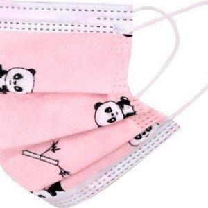 Masti de protectie copii, roz, model panda 50buc